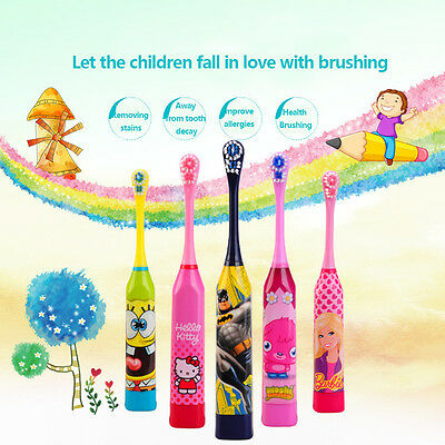 Children Kids Gift Cartoon Electric Toothbrush+1 Brush Heads- Hello Kitty Batman