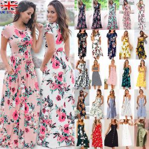 UK-Womens-Elastic-Wasit-Swing-Maxi-Ladies-Loose-Holiday-Summer-Midi-Long-Dress