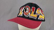 Noles Hat Cap Big Logo Seminoles FSU Florida State University Snapback Black Vtg