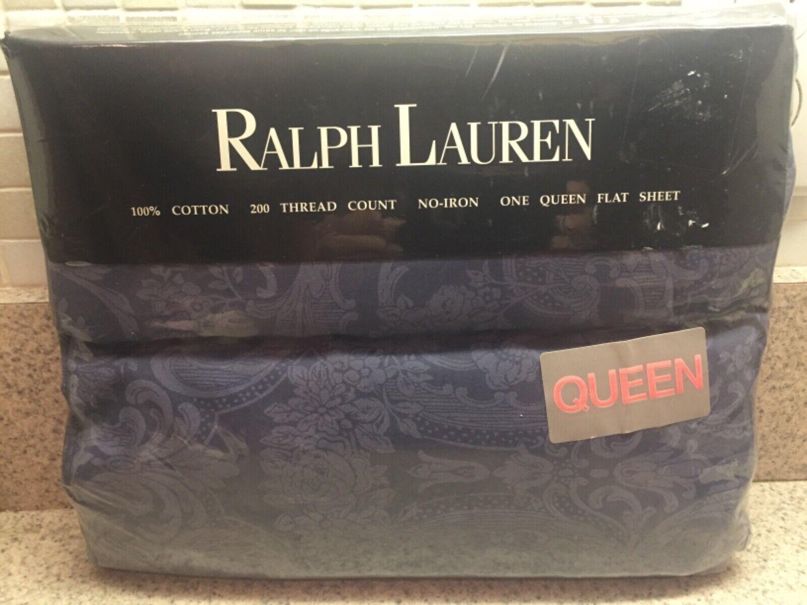 NEW Ralph Lauren Avery bluee Queen Flat Sheet FABRIC