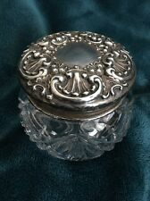 Antique Repousse Sterling Silver Lidded Glass Dresser Vanity Jar Art Nouveau