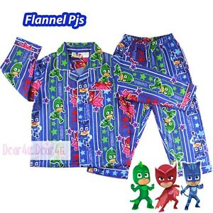 c2f73c3e4541 PJ MASKS boy long sleeve button up set flannel pjs pyjamas size 2-6 ...
