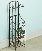 Bronzed 3-d Palm Tree Tropical Retreat Bathroom Toilet Tissue Holder Storage