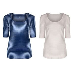 Marks & Spencer Womens Striped Cotton Tops New M&S Short ...