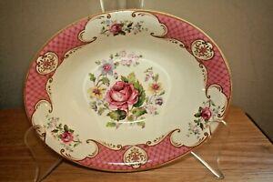 Vntg-Myott-Staffordshire-England-Rose-Pink-oval-serving-bowl-vegetable-dish-10-034
