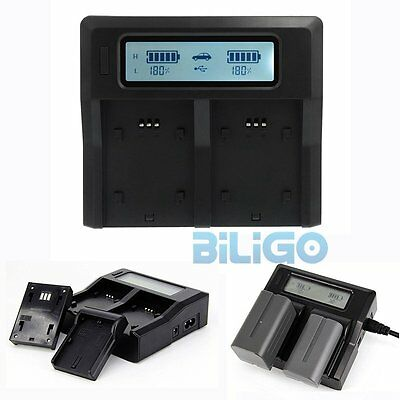 Dual-Channel LCD Display Battery Charger for Sony NP-F970 NP-F960 NP-F750 F550