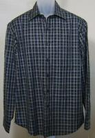 Tasso Elba Long Sleeve Blue Cotton Plaid Med Shirt