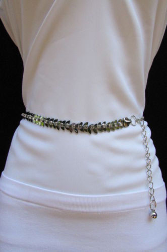 Women Silver Metal Fashion Belt Narrow Chains Leaf Buckle Flower Chams Size S M