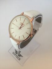 F&MJ738 Rose Gold & White Ladies Watches Women Fashion Softech Quartz Watch