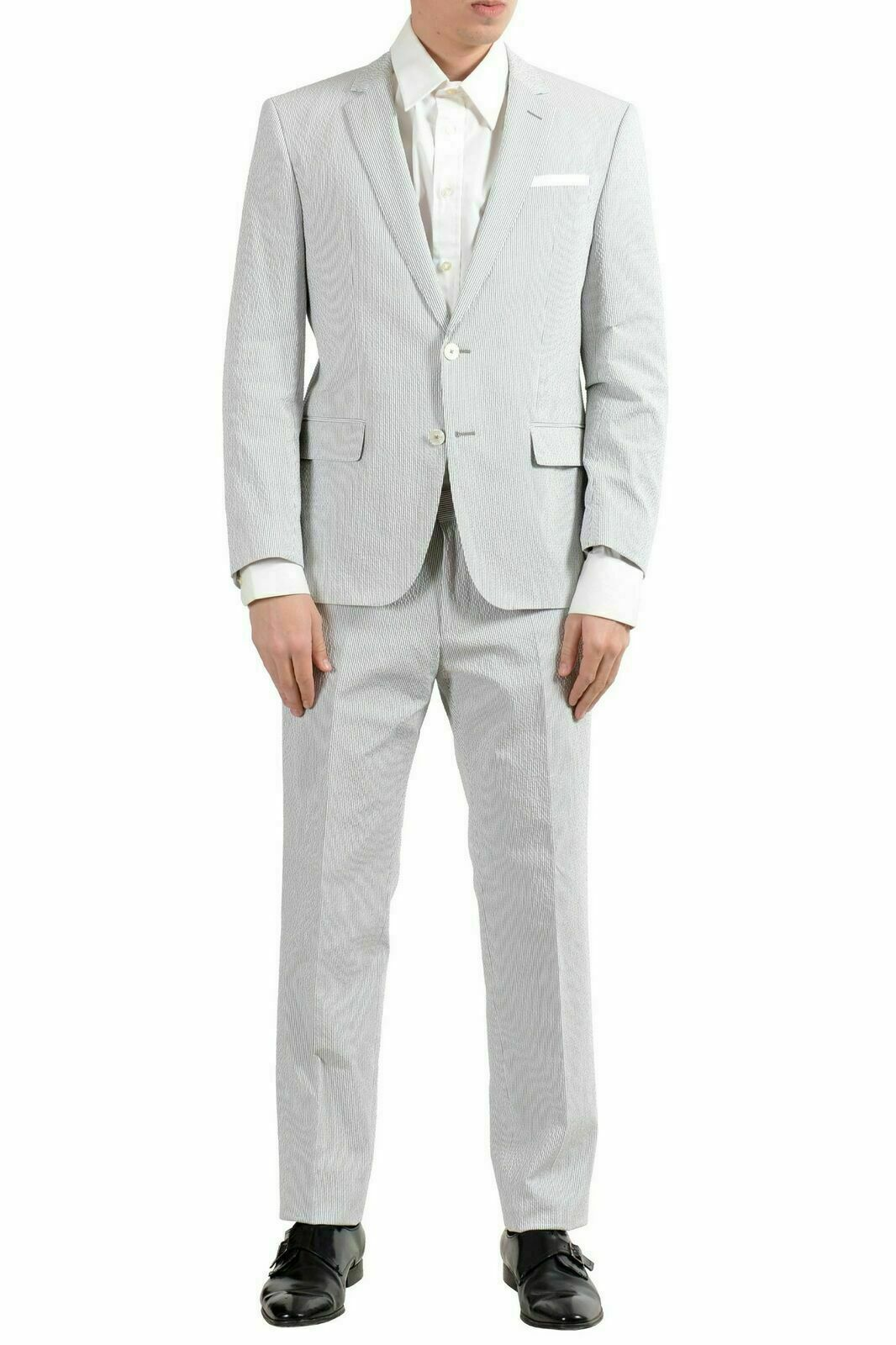 Hugo Boss  Hedson3 Gander1  Men's Striped Stretch Two Button Suit US 40S IT 50S