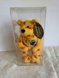 Salvino's Bammers Ryan Leaf #16 Yellow Beanie Plush Bear In Case