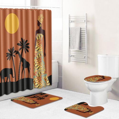 """72x72/"""" Afro Girls African Queen Princess Bath Shower Curtain Floor Doormat  Rugs"""