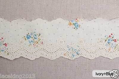 "Embroidery scalloped flower linen eyelet lace trim 2.4"" 6cm YH1063a laceking2013"