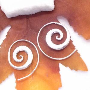 Hippie-Gipsy-Ibiza-Design-Ohrringe-Creolen-Ringe-Spirale-925-Sterling-Silber-neu