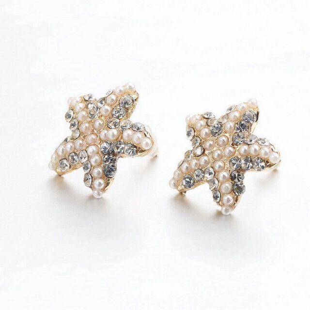 Handmade Pearl Rhinestone Starfish Sea Star Ocean Beach Stud Earrings