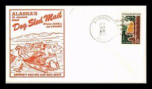 DR JIM STAMPS US GAMBELL ALASKA DOG SLED MAIL EVENT COVER FIDALGO CACHET 1962