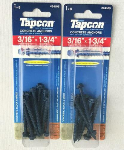 "*2 Tapcon Concrete Anchors Screws 8-pc Packs 3//16/"" x 1-3//4/"" Concrete Block Brick"