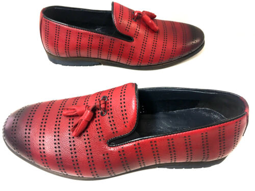Mode Mokassin Neue Leder Rot Slipper Loafer Red Lochdesign Mocassin Herrenschuhe d6xqgpx