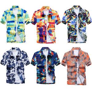 Hawaiian-Men-039-s-Floral-Print-Short-Sleeve-Dress-Shirts-Fashion-Beach-Casual-Shirt