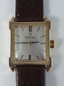 Omega Vintage rectangular  14k gold men's watch, working ,nice collector watch !