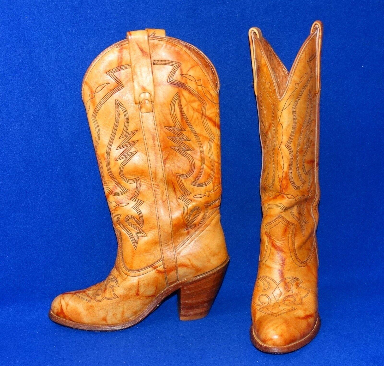 WHOA !!! TYE-DYED VTG CAPEZIO 7 M TYE-DYED !!! COWBOY BOOTS GOLDEN TAN WOMENS f7df1b
