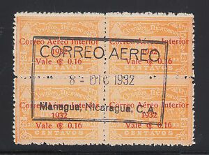 Nicaragua Sc C41 used 1932 16c on 20c orange Post Office, Central Cancel VF