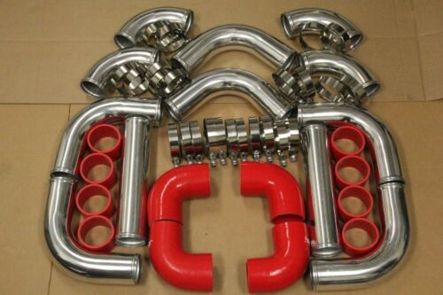 3/' RED FIMC INTERCOOLER+TURBO PIPING KIT COUPLER CLAMPS RX7 RX8 MIATA MX3 FD FC