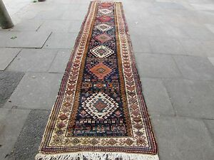 Antique-Traditional-Hand-Made-Vintage-Rug-Blue-Wool-Long-Runner-430x97cm