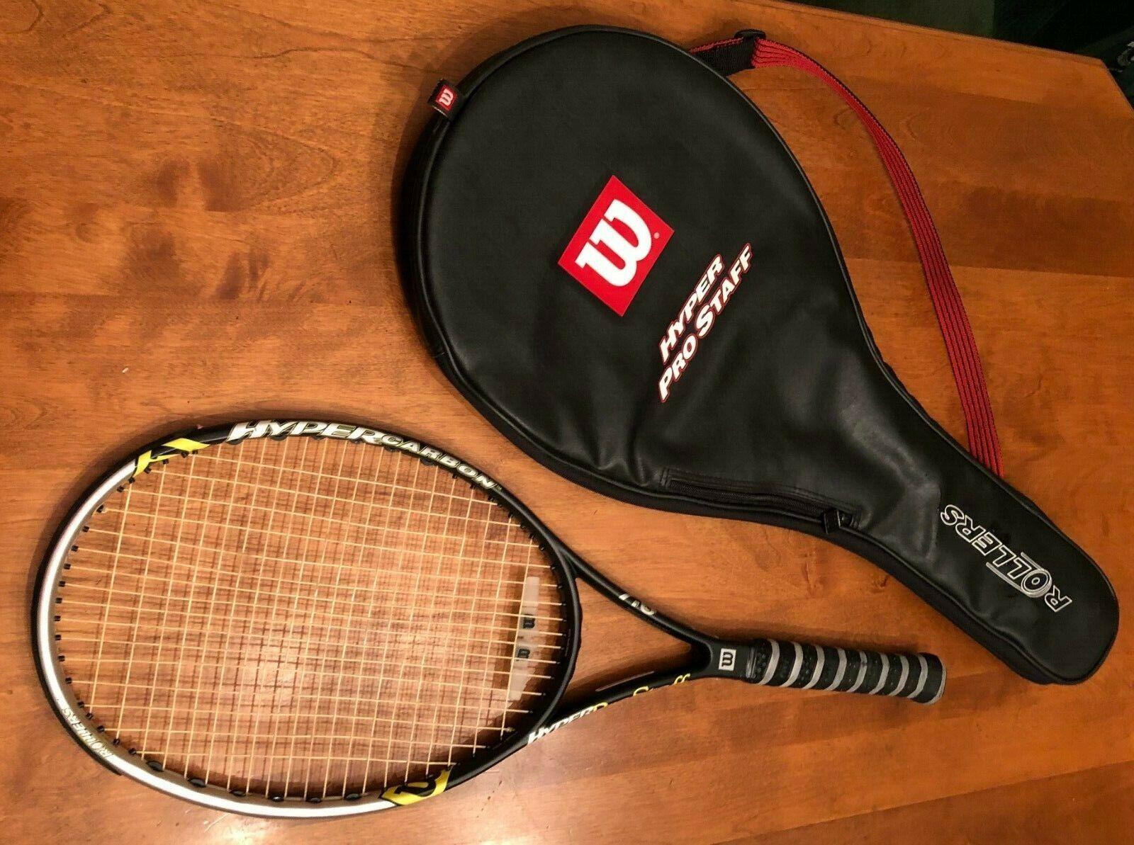 Wilson Hyper Carbono Prostaff 7.6 Rodillos De Tenis Raqueta 4 3 8 de agarre y caso 98 Usado En Excelente Condición