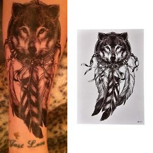 Waterproof-Wolf-Dreamcatcher-Temporary-Large-Arm-Body-Art-Tattoos-Sticker-FE