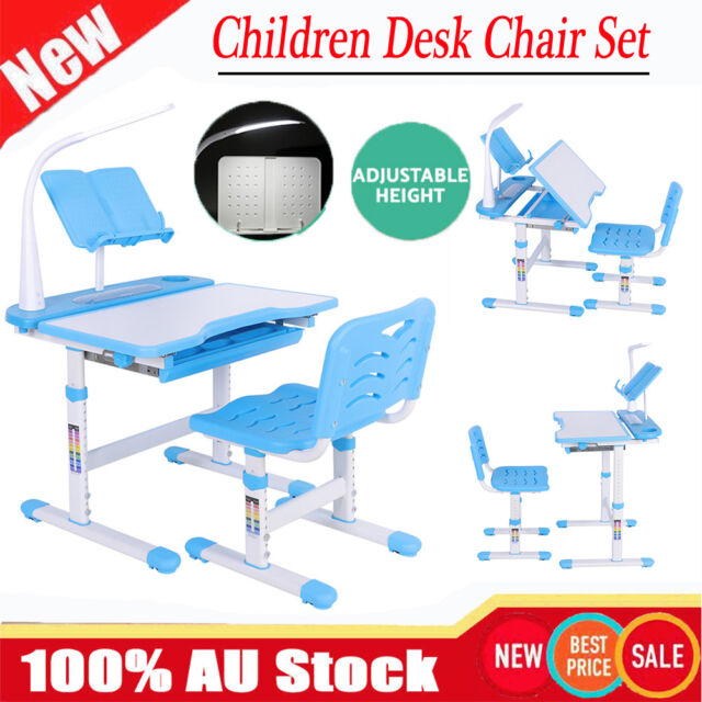 Adjustable Height Kids Study Desk Table Chair Set Lamp Children