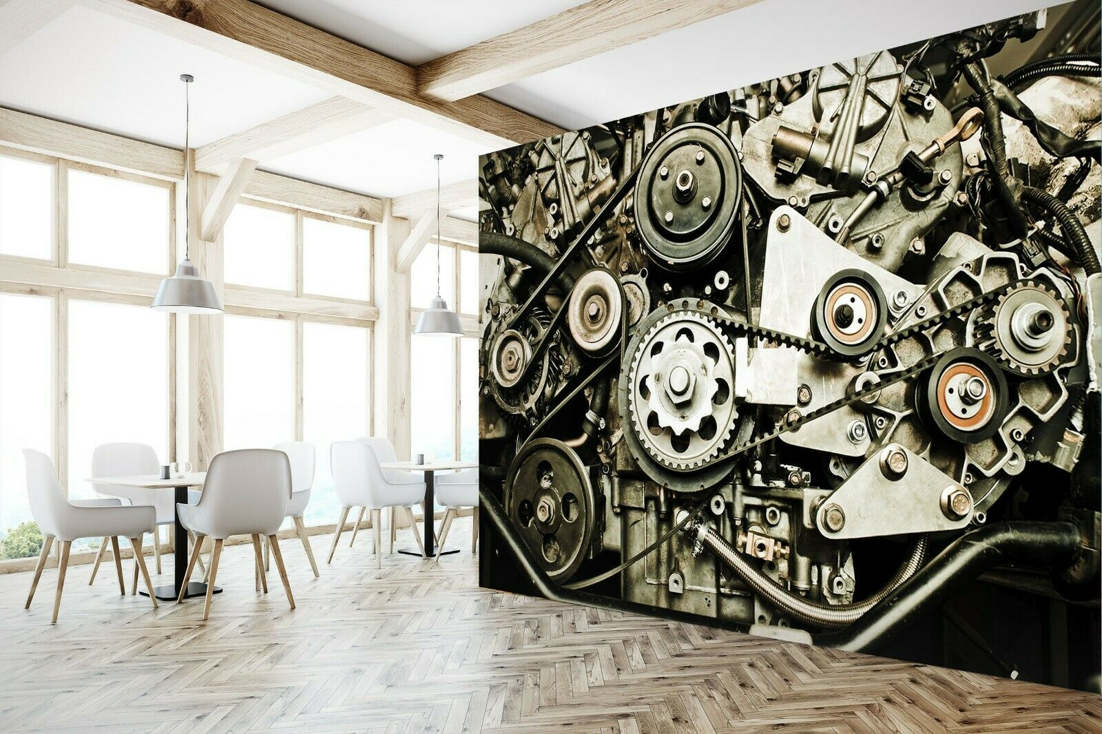 3D Wheel I179 Transport WandPapier Mural Sefl-adhesive Removable Angelia