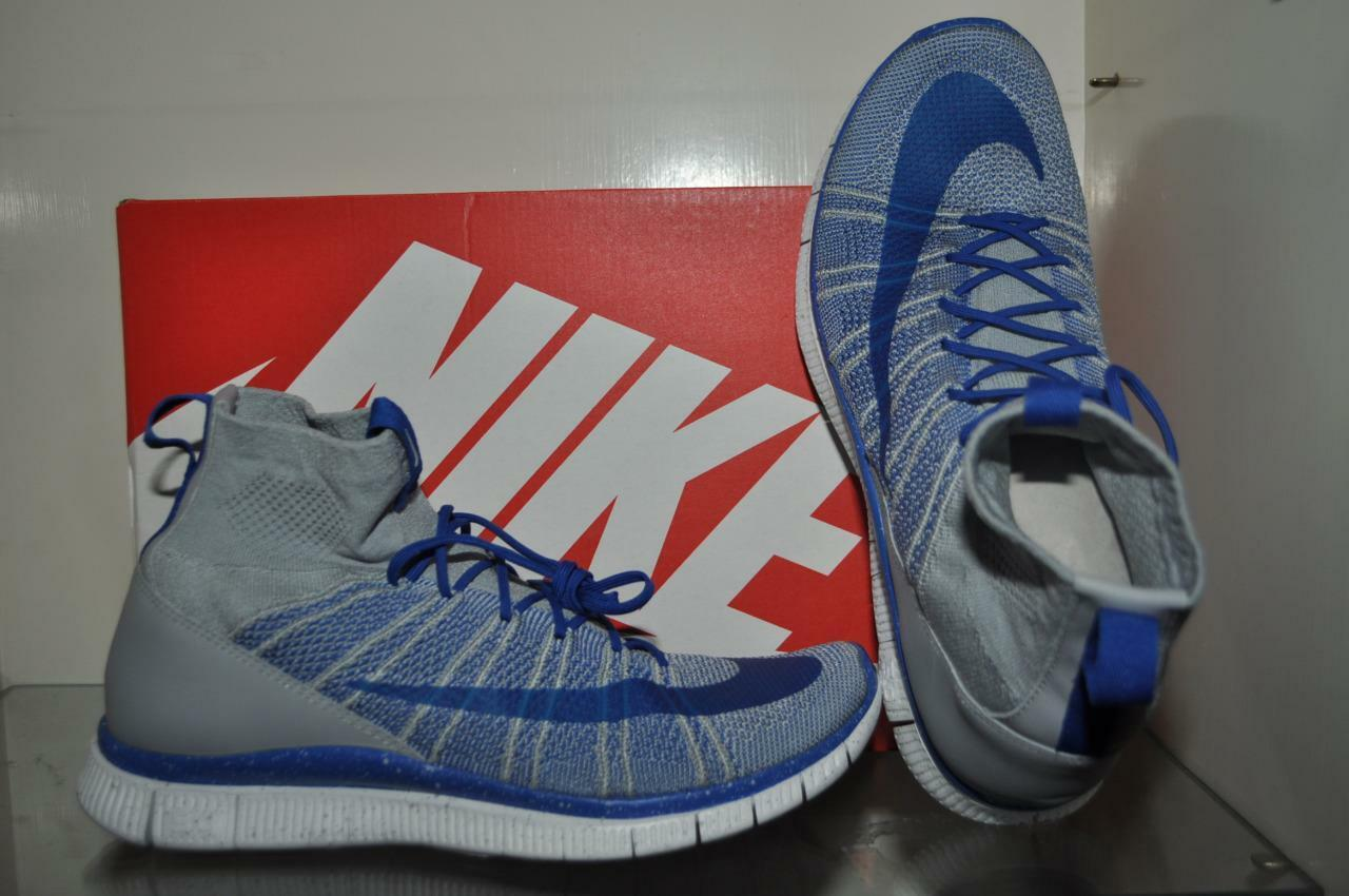 Nike Free Flyknit Mercurial 805554 003 Mens Running Shoes Gray/Blue NIB