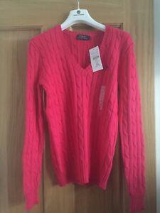Rrp Jumper 120 Kabel Knit Ralph Ladies Pink Polo Bnwt Størrelse £ Xs Lauren x67qvUwY
