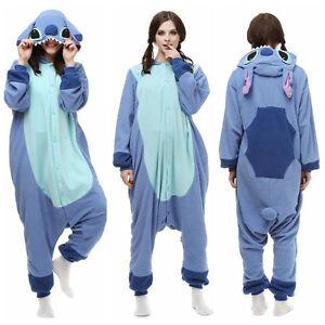 Neue Blau-Stich Onesies Kigurumi Pyjamas Cosplay Kostüme Tier Nachtwäsche Robe