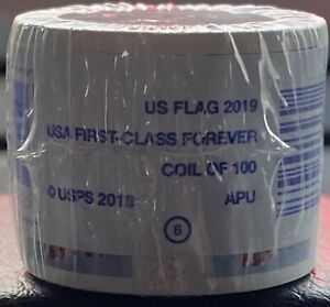 2019 US Flag USA First-Class Forever Stamps Roll / Coil Of 100 FOR HOLIDAY CARDS