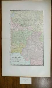 Vintage-1900-CENTRAL-ASIA-Atlas-Map-14-034-x-22-034-Old-Antique-Original-PERSIA-KHIVA