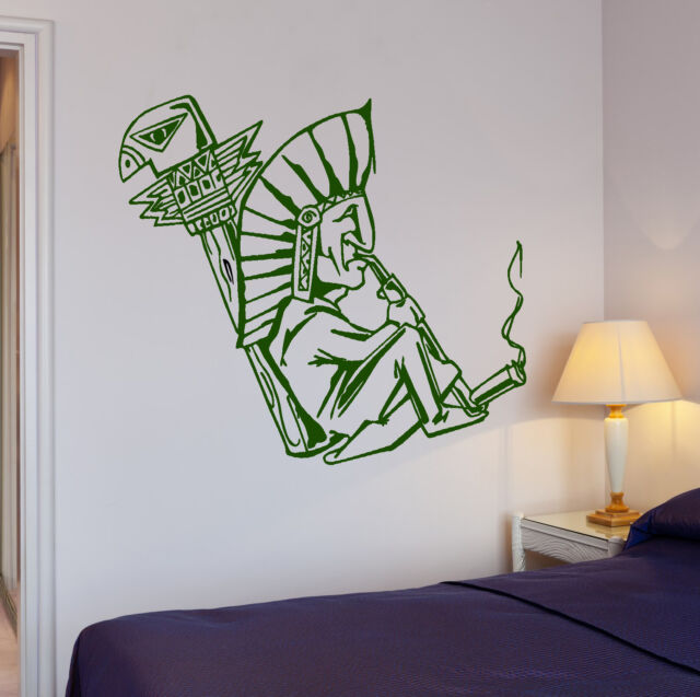 Wall Stickers Shaman Smokes Marijuana Weed Hippie Art Vinyl Decal (ig2020)
