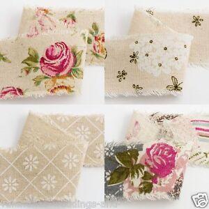 Vintage-Rose-Daisy-Bloom-Print-Burlap-Hessian-Jute-Ribbon-Frayed-Edge