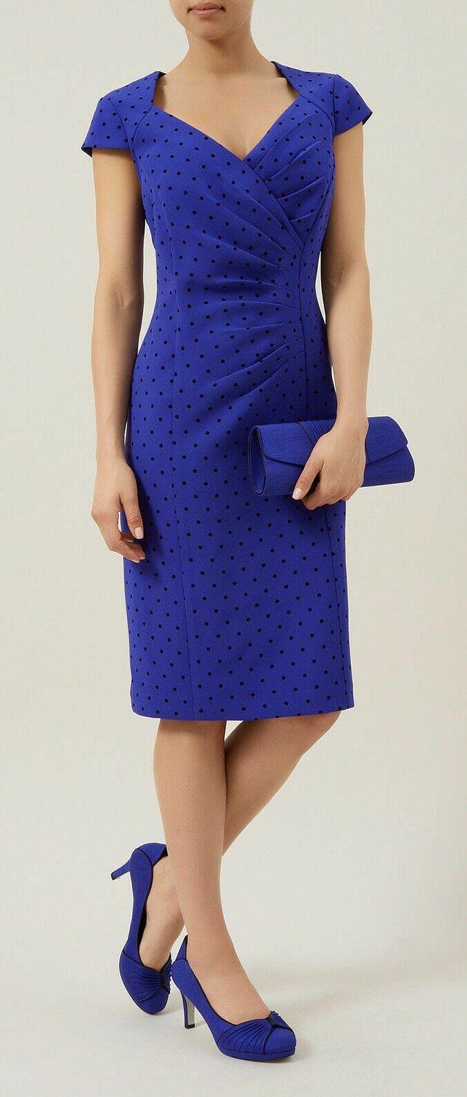 New Jacques Vert dress UK 12 Blue Black spotted Spot mock wrap Pleated rrp