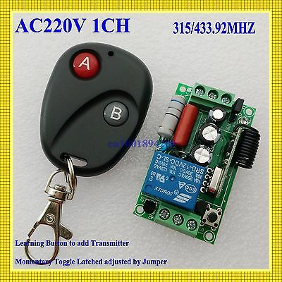 Remote Control Switches AC220V 1CH Lighting Remote Controller A ON B OFF 315/433