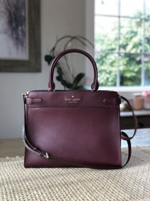 KATE SPADE STACI LARGE SATCHEL SHOULDER TOTE BAG CHERRYWOOD WINE MERLOT LEATHER