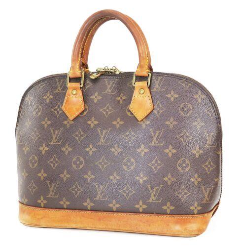 Authentic LOUIS VUITTON Alma Monogram Hand Bag Pur