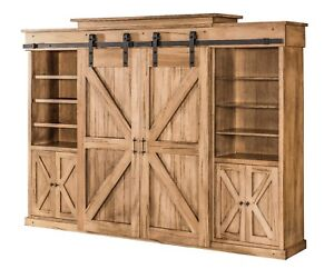 Amish Barn Door Tv Entertainment Center Wall Unit Rustic Track Doors