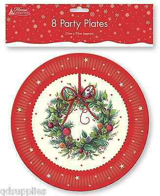Christmas Design.Pack 8 X Christmas Wreath Design Round Paper Plates 23cm Party Tableware Trpl 5012128461439 Ebay