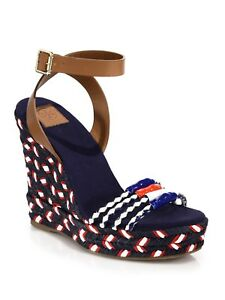 d12751cf640 Tory Burch Blue Leather   Braided Espadrille Wedge Sandals 4380 Size ...