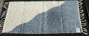 """Initiative Tapis/tapis Tissés """"à Moitié/moitié"""" Nature/bleu 135 X 65 Cm Tapis Lavable-afficher Le Titre D'origine"""