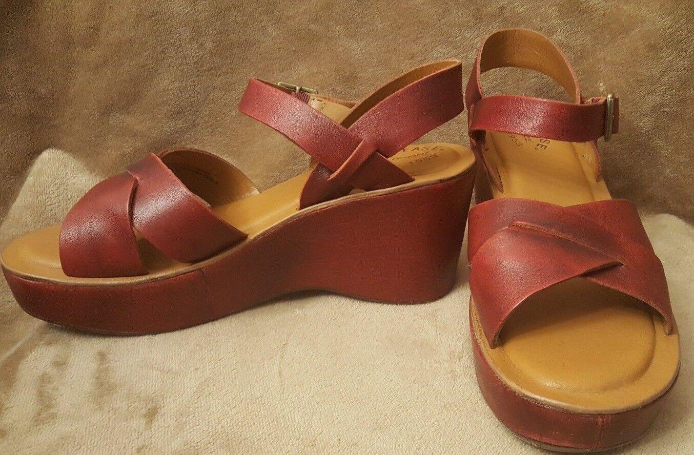 Kork-Ease Sandalias De Cuero Rojo de cuña con plataforma plataforma plataforma para mujer 10 42 K52305 CND12  barato y de alta calidad