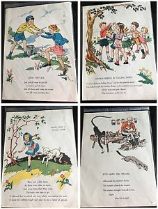 Image Is Loading Vintage Nursery Rhymes Pages From Book Set 6