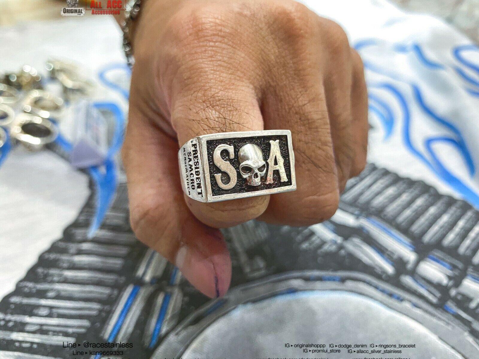 Ring SOA Death Scythe Sons of anarchy Men of mayhem harley Sz6-12 (Silver 925)